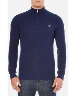 Cotton Pique Half Zip Sweatshirt