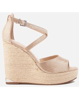 Krystal Leather Espadrille Wedged Sandals