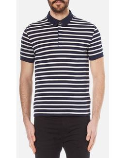 Men's Striped Mini Pique Polo Shirt