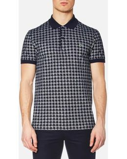Men's Oversized Houndstooth Printed Polo Shirt