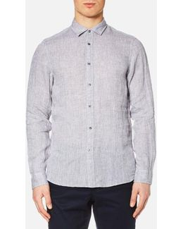 Men's Slim Yarn Dye Linen Solid Long Sleeve Shirt