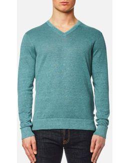 Men's Melange Wash V Neck Sweater