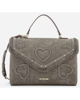 Heart Applique Satchel Bag