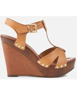 Katey Leather Wedged Sandals