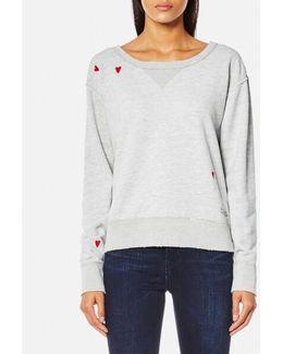 Women's Loose Fit Heart Sweatshirt