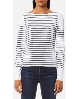 Gaila Stripe Boat Neck Sweatshirt