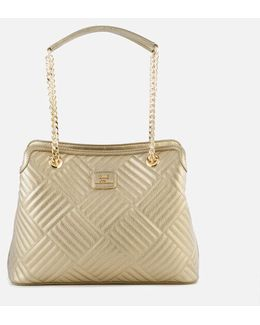 Shiny Quilted Metallic Chain Tote Bag