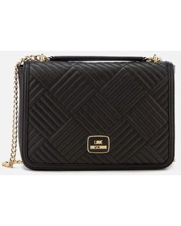 Shiny Quilted Metallic Chain Shoulder Bag