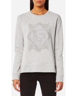 Embroidered Pleated Back Sweatshirt