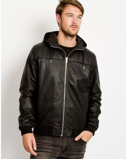 Lundrum Faux-Leather Hooded Jacket