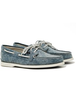 A/o 2-eye White Cap Canvas Boat Shoe Navy