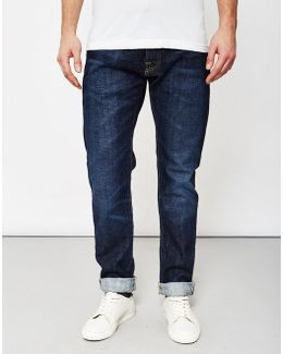 Ed-55, Red Listed Selvedge, Relaxed Tapered, 14oz, Washed Jeans