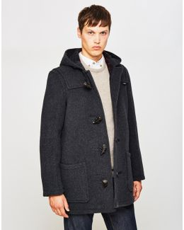 Mid Length Check Duffle Coat Grey