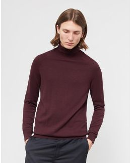 Adam Roll Neck Jumper Burgundy