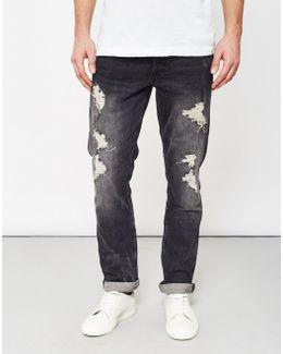 Weft Destroyed Dark Grey Denim Jeans