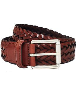 Leather Woven Belt Brown