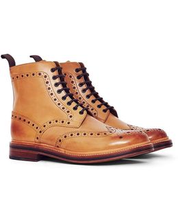 Fred Leather Brogue Boot Tan