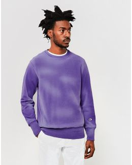 Garment Dyed Classic Reverse Weave Sweatshirt Purple