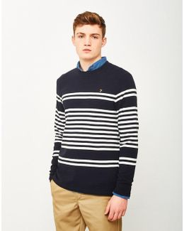 Branson Stripe Sweatshirt Navy
