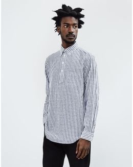 Boucle Stripe Pullover Shirt Navy