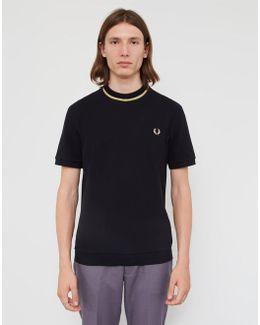 Crew Neck Pique T-shirt Black