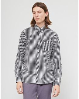 Made In England Long Sleeve Gingham Shirt Black & White