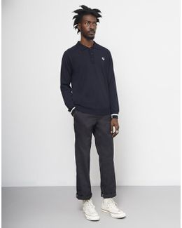 Long Sleeve Knit Cuff Polo Shirt Navy