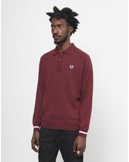 Long Sleeve Cuff Knit Polo Shirt Burgundy