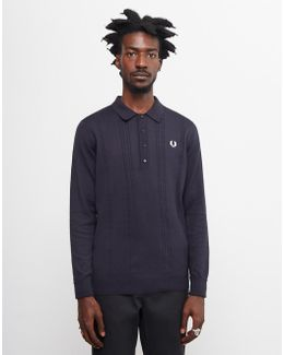 Cable Knit Polo Shirt Navy