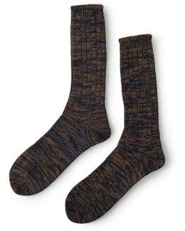 5 Color Mix Crew Sock Navy & Brown