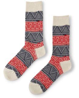 Mountain Range Crew Striped Sock Red & Blue