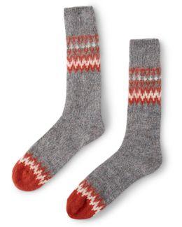 Tweed Nepp Crew Sock Grey & Red