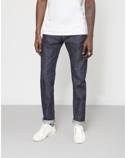 Ed-80 Slim Tapered 63 Rainbow Selvage Denim Jeans Unwashed Blue