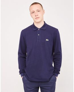 Long Sleeve Polo Shirt Navy