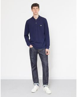 Long Sleeve Taped Polo Shirt Navy