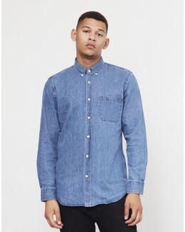 Ganga Button Down Denim Shirt Blue