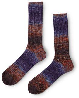 Slub Boot Sock Red & Blue