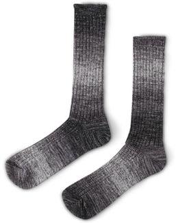 Slub Boot Sock Grey & White