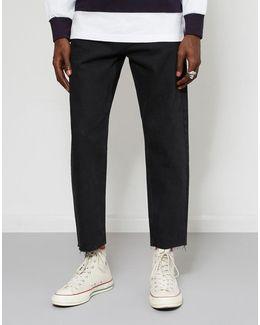 Raw Hem Dad Jeans Black