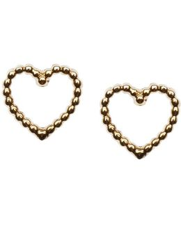 Tiny Open Heart Stud Earrings