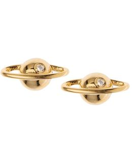 Gold Plated Planet Stud Earrings By