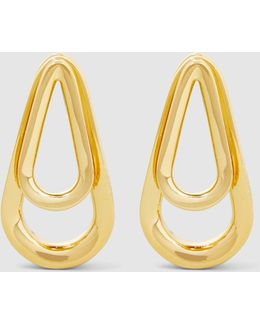 Double Ellipse Gold Earrings
