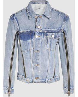 Zip-detailed Faded-denim Jacket