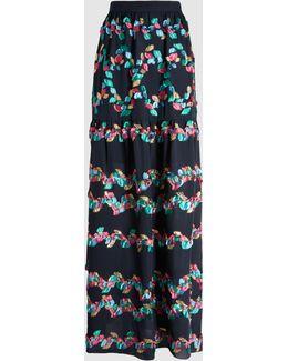 Tiered Fil Coupé Silk-blend Skirt