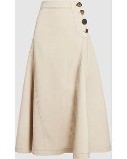 Alana Cotton-blend Flare Midi Skirt