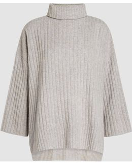 Ribbed-wool Poncho Sweater