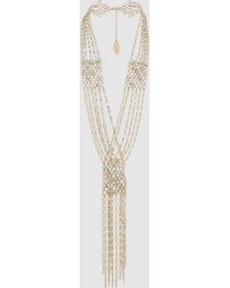 Gold-plated Multi-strand Crystal Necklace
