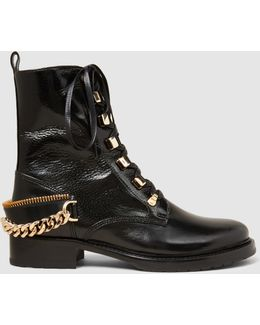 Embellished Glossed Smooth And Textured-leather Biker Boots