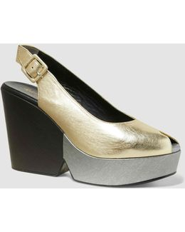 Dylan Metallic Leather Wedge Sandals