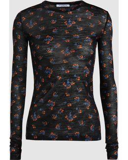 Candia Wool-blend Printed Long Sleeve Top